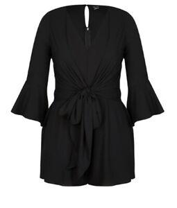 CITY CHIC- Black Lace Back Twist Playsuit Size Medium/18/Plus Size/Sleeves/Sexy