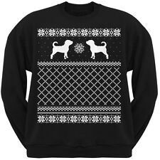 Puggle Black Adult Ugly Christmas Sweater Crew Neck Sweatshirt