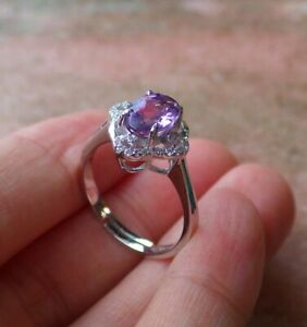 Certified Natural Amethyst Ring Sterling Silver 925 US No.6.75 # 542421