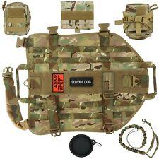 Dog Tactical Harness (XL) – 1000D Nylon Molle Vest w/ Leash 3 Pouches & Patches
