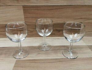 3 x Clear Glass Arc France Stemmed Wine Glasses  138mm Tall