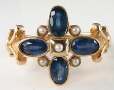 9 Carat Yellow Gold Sapphire Ring Art Deco Fine Jewellery