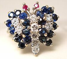 Ladies 14k white gold sapphire and diamond butterfly ring