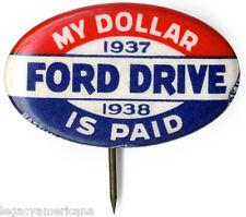 1937 Depression Era UAW Ford Motor Company Labor Organizing Drive Button (5097)