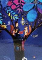 """Mila Marquis Grußkarte """"Frau im Herbst-Baum"""" Fuchs Eule Eichhörnchen Tee Tiere"""