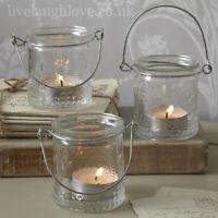 Fleur De Lys Glass Tea Light Holders - Set of 3