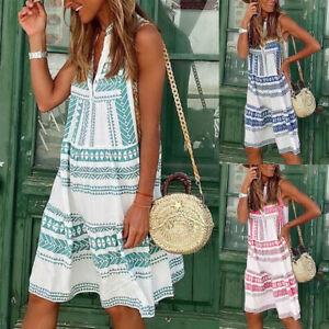 Damen Boho Sommer Strandkleid Freizeit Baggy Tunika Kleid Longtop Partykleid DE