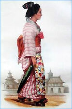 JAPAN: WOMAN in YOKOHAMA CITY in the 19th century - Colour engraving of 19th