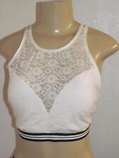3138368184 NWT HOLLISTER WOMENS GILLY HICKS OFF WHITE BLACK LACE BRALETTE REMOVABLE BRA  XL