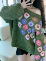 Embroidery Flower Thicken Pullover Sweater Women Autumn Loose Knitted Top Coat