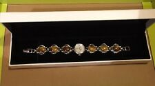 STERLING SILVER AND TIGER EYE STONES QUARTZ LADIES WRISTWATCH BY GEMS