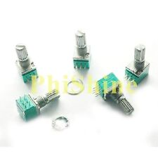 5PCS Double-Joint 6 Pin 09 B10K Potentiometer for Stereo Audio Amp 15mm Shaft
