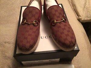 New Authentic  W/B  Gucci Men's Fabric Espadrilles Multi  Color Shoes G 12 U 13
