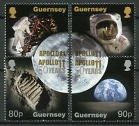 Guernsey 2019 MNH Apollo 11 Moon Landing 50th Anniv 4v Set Space Stamps