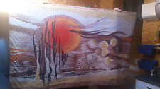 "Tenture murale vintage de Lartigaud en laine ""Terre de feu"" era lurçat"