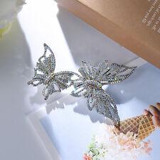 Broche Gros Argenté Deux Papillon AB Cristal Dentelle Fin Mariage XZ4