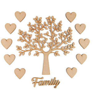 Wooden MDF Family Tree Kit Set with hearts Craft Blank Shapes Wedding Guestbook