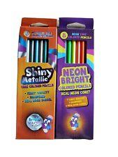 Neon Bright & Metallic Shiny Core Colored Pencils 16 TOTAL NEW IN BOX Vivid ART