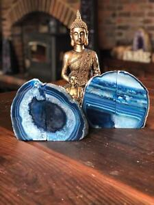 Blue Agate Natural Edge Microcrystalline Quartz Premium Bookends Ornament Pair