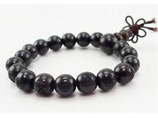 "Tibetan 19 10mm Black Sandalwood Carved Buddha Prayer Beads Mala Bracelet 6 1/2"""