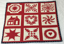 Woven Quilt Wall Hanging, Red & Ivory, Cotton, House, Flowers, Hearts, Tree