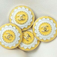 New listing 4pc Chanel Button Cc Yellow 21 mm Vintage Style Unstamped 4 Buttons Auth!