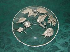 Silver Overlay Leaf Dish w/3 feet Scalloped Edges - Vintage
