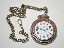 Quartz Pocket Watch with Chain Victorinox Swiss Army Stainless Steel