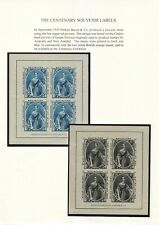 1940 CENTENARY SOUVENIR LABELS BY PERKINS BACON & CO, SET OF 2 ON PAGE