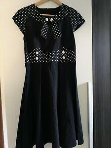 Kleid Rockabilly Dots Schwarz Weiß 40