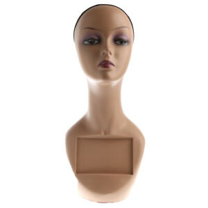Female Mannequin Head Bust Wig Hat Scarf Jewelry Display Stand with Net Cap