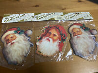 Lot Of 3 Vintage Wood Santa Christmas Ornament Roman Innovation | Double Sided