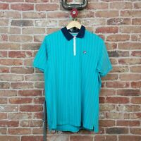 FILA WHITE LINE Classic Polo Top T Shirt Button Down Turquoise Pin Stripe L