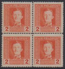 Österreich-Feldpost Nr. 54 - 2 Heller Kaiser Karl im 4er-Block postfrisch