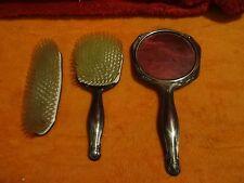 Bürsten Set 835 Silber besteht aus 2 Bürsten und 1 Hand Spiegel Vintage  V