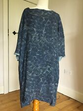 POETRY Tunic Dress Blue Grey Abstract Design Wool Mix with Under Slip Size 20
