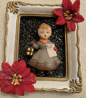 Vintage Christmas Caroled Singing Girl  Framed Hand Made Assemblage Holiday