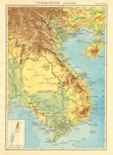COLONIAL FRENCH INDOCHINA. Indochine française. Physique. Physical 1938 map