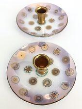 Vtg Dorothy Thorpe Candle Holder MCM Gold Atomic Starburst Glama Glass Set of 2