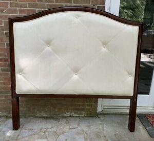 Bombay Company Furniture Tufted Queen Headboard -  Mahogany & Ivory Upholstery