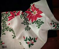 "2 pure LINEN KAYDEE DISH TOWELS Imprinted Christmas POINSETTIAS 30 1/2""X17 1/2"""