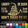 Don't Tread On Me Snake Live Free Die 1776 1789 2nd Amendment 3% sticker decal
