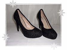 Magnifiques Chaussures  Escarpins  Dentelle Noire Strass Malien Pointure  39