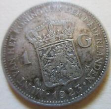 1923 Netherlands (WILHELMINA DUTCH) 1G ONE GULDEN SILVER COIN BETTER GRADE (W200