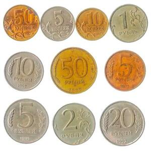 10 DIFFERENT RUSSIAN FEDERATION COINS: FOREIGN CURRENCY KOPEKS RUBLES  1991-2018
