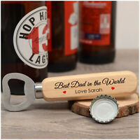 PERSONALISED Birthday Gifts for Best Dad Daddy Grandad Him Wooden Bottle Opener