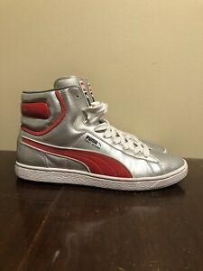 Puma First Round High Tops Silver/Red - Size 10.5 EUC
