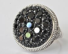 Konstantino Round Black Spinel Ring Sz 8 Sterling Silver New Circe