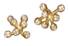 NEW: Fireworks-7 Earrings 18K Gold Diamonds Celebrate Life Inspirational jewelry