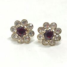 Red & White Rhinestone Screw Back Flower Earrings Vintage